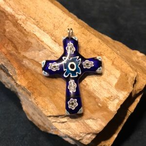 Murano Glass Cross Pendant
